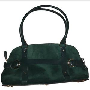 Salvatore Ferragamo Green Suede Shoulder Bag